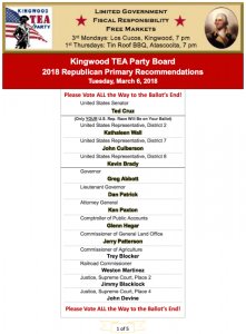 Kingwood TEA Party Recommendations for 2018 Harris Co. Republican Primary